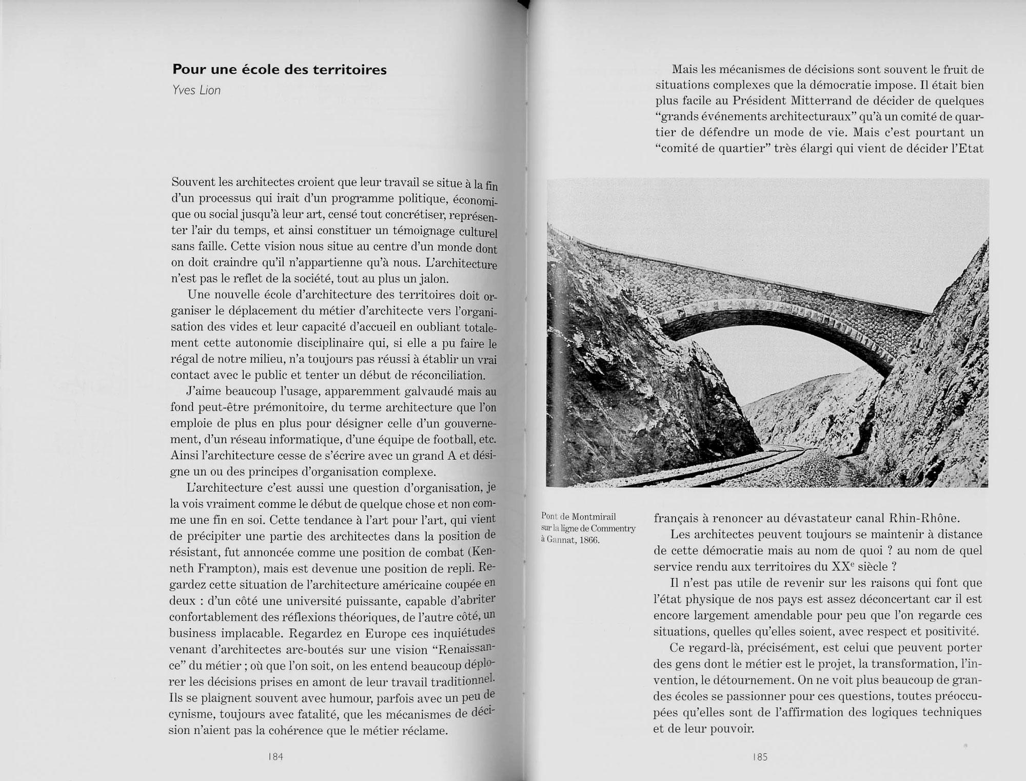 *Pour une école de tendance, Mélanges offerts à Lugi Snozzi*, Presses Polytechniques et Universitaires Romandes