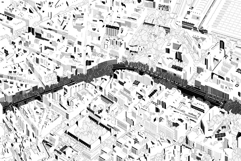 <p>@ <em>Canal St-Martin</em>, encre sur papier, 2017</p>