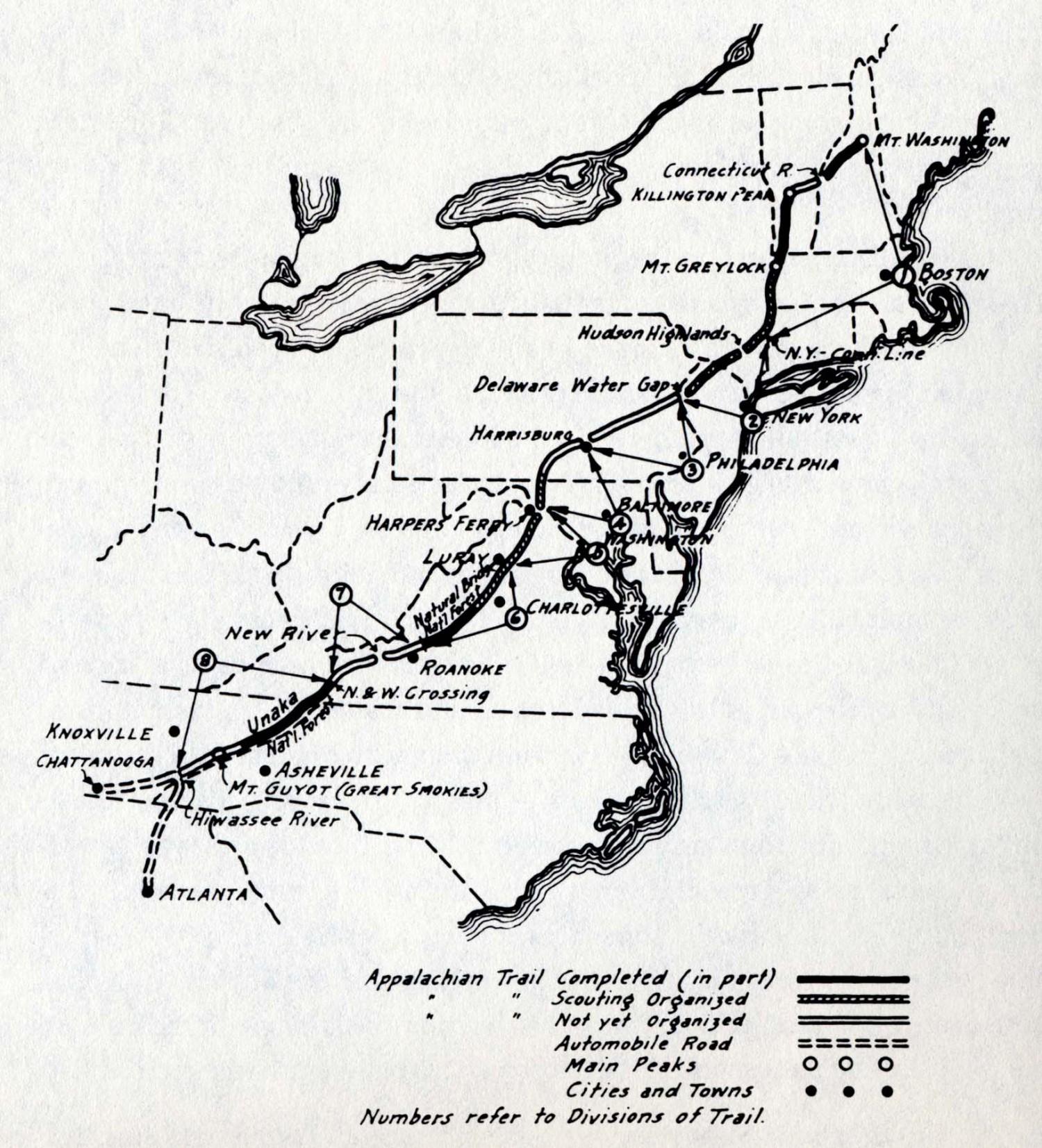 <p>Appalachian Trail, 1922, Benton MacKaye</p>