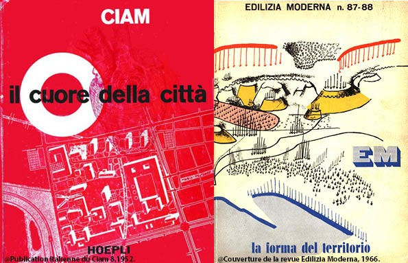 <p>Publication italienne du Ciam 8,1952.<br /> Couverture de la revue Edilizia Moderna, 1966.</p>